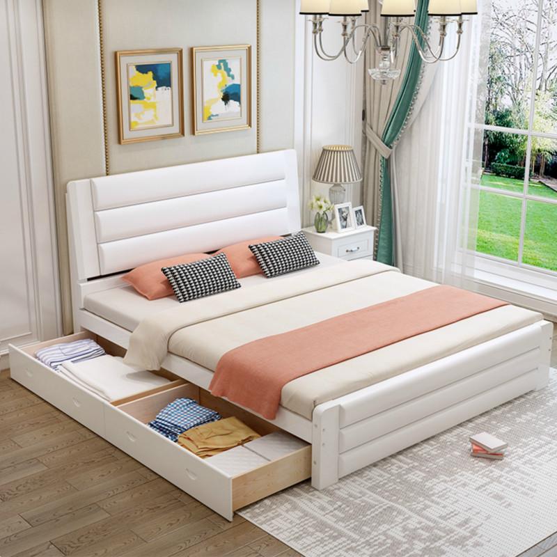 实木床1.5米欧式双人床主卧1.8米现代简约单人床1.2m经济型松木床