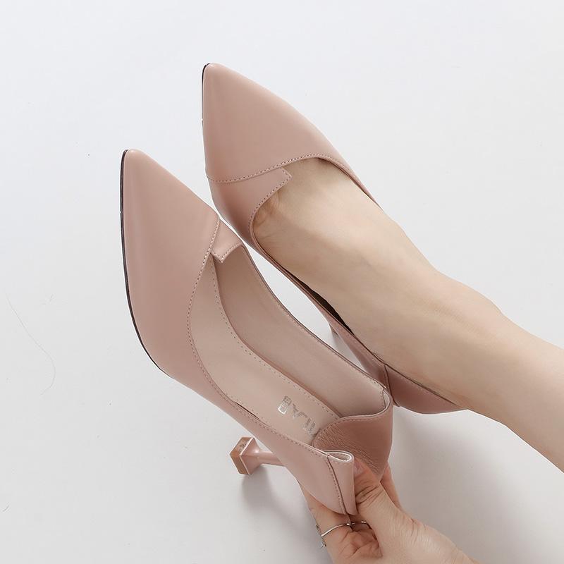 尖头高跟鞋少女细跟2018新款秋鞋百搭性感猫跟皮鞋子黑色33小码