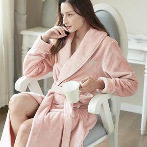 秋冬季加厚加长款睡袍女法兰绒情侣浴袍珊瑚绒浴衣男青年保暖睡衣