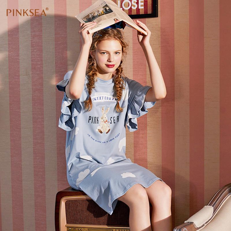 Pinksea睡裙女夏季纯棉小兔子宽松大码长款短袖薄款全棉女士睡衣