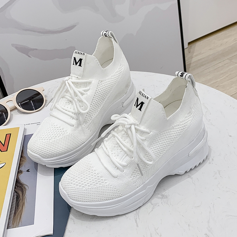 2020夏季内增高飞织椰子女鞋网面小白鞋休闲老爹鞋透气运动鞋舒适