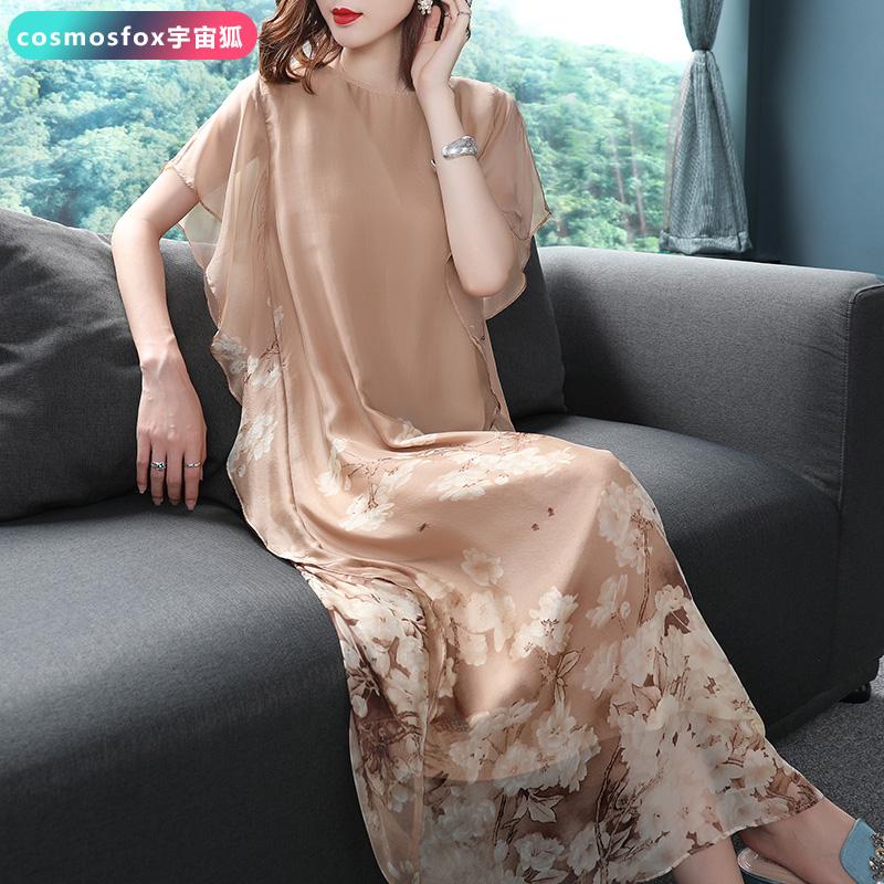 妈妈夏装重磅真丝连衣裙2018新款女高贵时尚桑蚕丝中年减龄长裙子