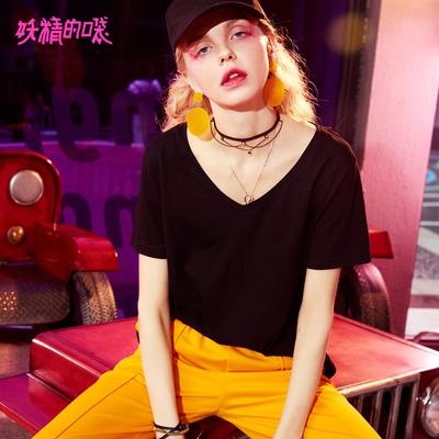 妖精的口袋短袖夏装2018新款小v领心机上衣设计感chic纯色t恤女K-