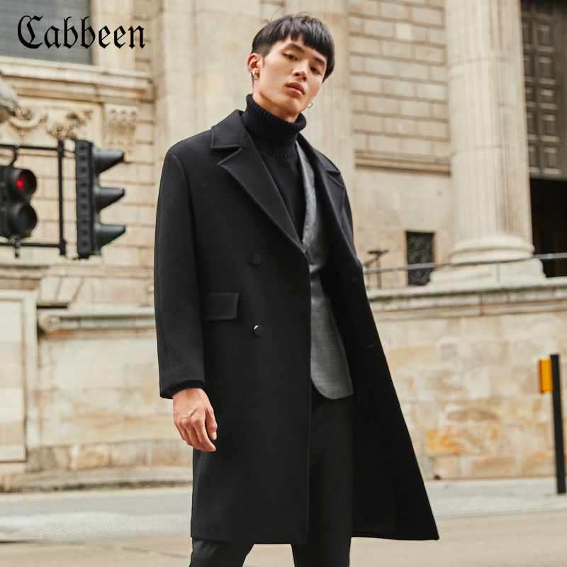 卡宾男装2018秋冬西装领韩版长款毛呢大衣宽松保暖羊毛呢子外套H