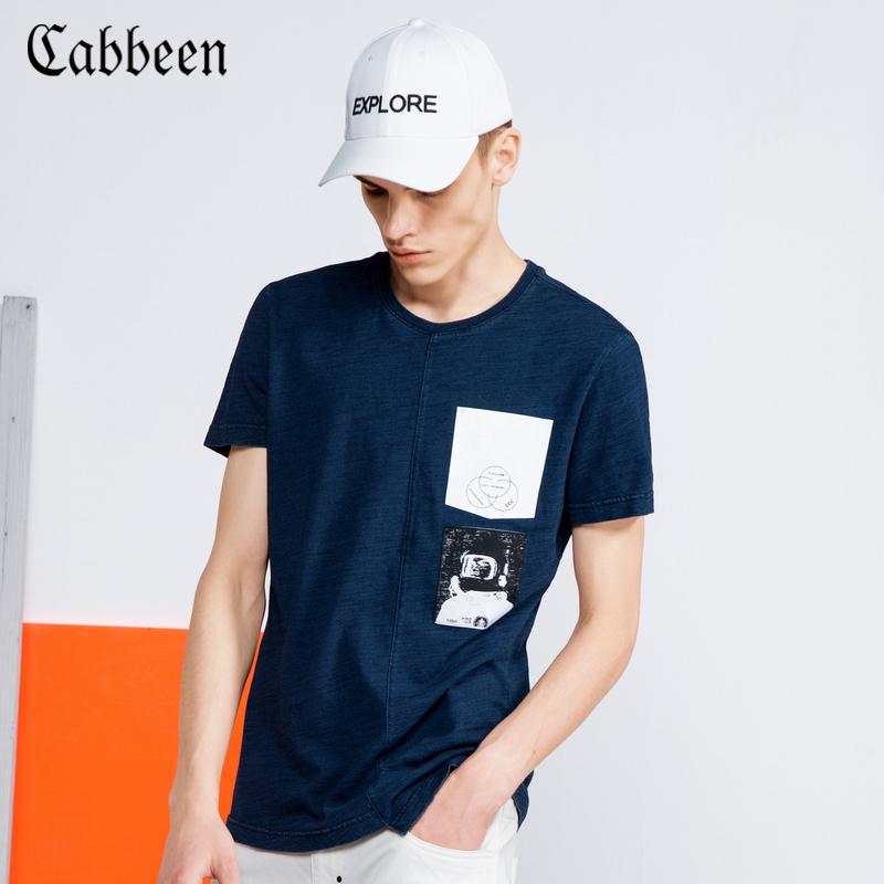 卡宾男装圆领短袖T恤春秋新品潮青年半袖修身纯棉印花贴布打底衫B