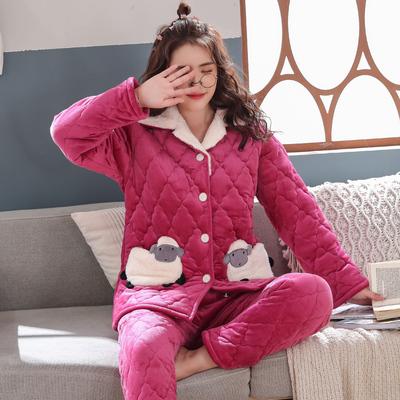 睡衣女秋冬季纯色男士夹棉睡衣珊瑚绒三层加厚加绒保暖情侣家居服