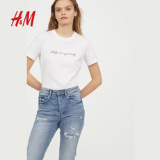 H/M Women's Spring 2018 New He Sui with embroidery short-sleeved T-shirt HM0642051