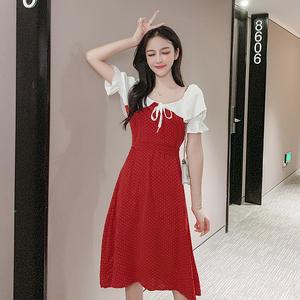 实拍 法式复古少女一字领雪纺拼接连衣裙度假裙