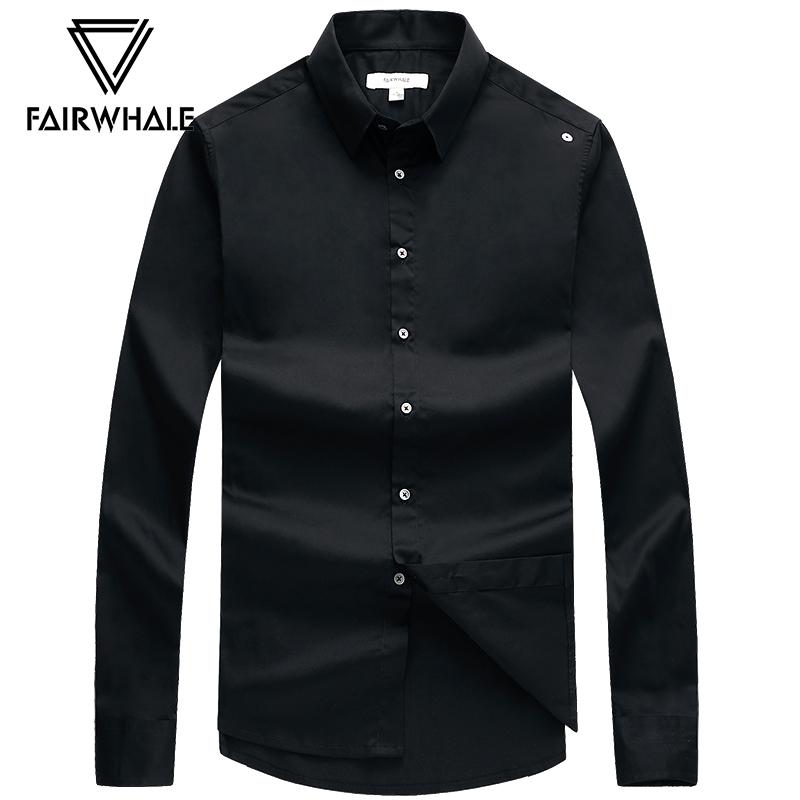 马克华菲长袖衬衫男2018秋季新款韩版尖领时尚黑色男装衬衫潮流