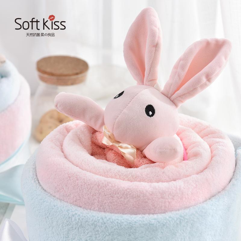 SK婴儿童毛巾浴巾礼盒高档套装 韩式创意满月礼生日毛巾蛋糕卡通