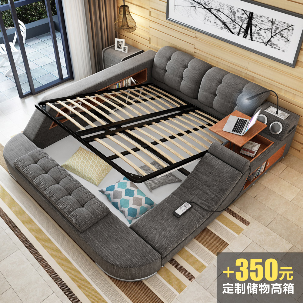 Massage Cloth Bed Tatami Bed Bed With Soft Bed Double Bed 1 8 M Storage Bed Bed With Modern