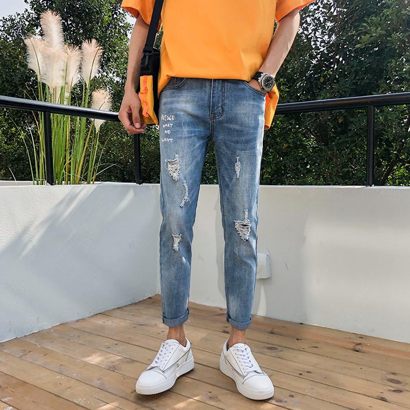 夏季青年男士牛仔裤休闲弹力潮流修身九分破洞裤