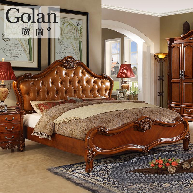 广兰美式实木真皮床欧式主卧家具圆床双人床婚床一米八的床0955