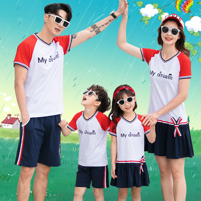 Different parent-child suits, women's dresses, Korean version of summer cotton, a family of four mother and child two-piece