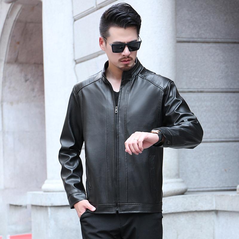 爸爸装皮夹克中年男士外套pu皮加绒秋冬季40岁50中老年60男装皮衣