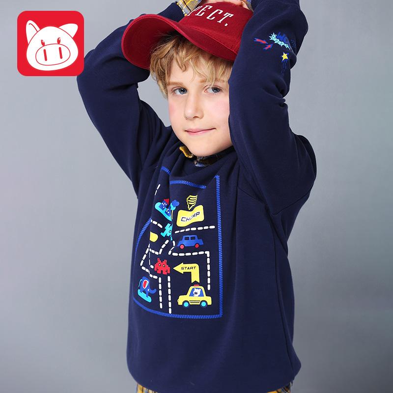 小猪班纳童装儿童卫衣男春秋款男孩长袖T恤男童套头衫中大童上衣