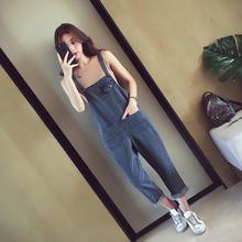 2017夏秋季新款韩版背带牛仔裤 女装