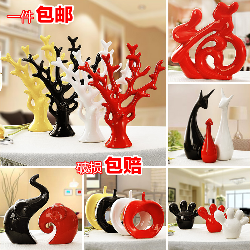Creative rich tree furnishing articles wine sitting room adornment household modern ceramics fawn process version into gifts