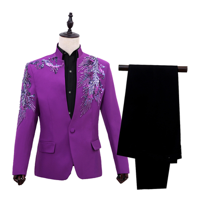 Men's collar, sequins, sequins, Western-style clothes, presenters, performance suits, long sleeves, stage singers, suits, and formal dress.