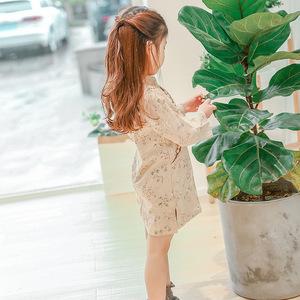 时尚城旗袍裙2019春女童棉麻气质长袖旗袍连衣裙中国风连衣裙