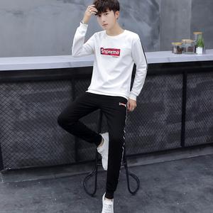 秋季运动套装男2019新款韩版潮流男士休闲套装短袖秋装衣服两件套