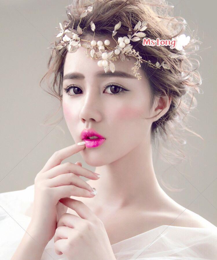 欧美表演出派对新娘影楼拍照夸张金色珍珠树叶子额饰头发饰发箍图片