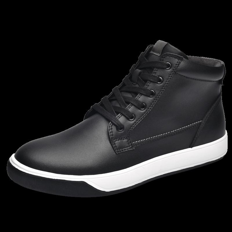 金猴男靴系带透气板鞋新款秋季休闲鞋皮鞋马丁靴 男黑色休闲短靴