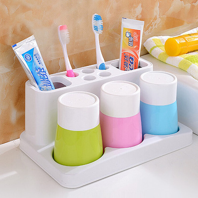 Family Of Three Toothbrush Holder Set Toothbrush Storage Rack Toothbrush Cup Toothbrush Cup Bathroom Products