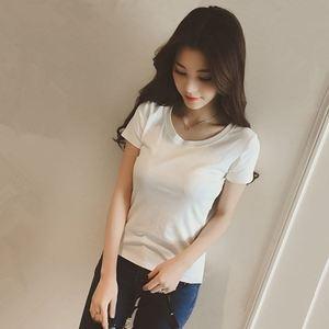 夏季白色t恤短袖女体恤打底衫圆领半袖上衣纯色显瘦紧身韩版修身