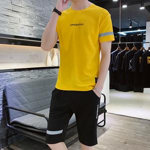 潮男帮夏季套装男潮流宽松青少年嘻哈休闲短套装运动两件套男短袖
