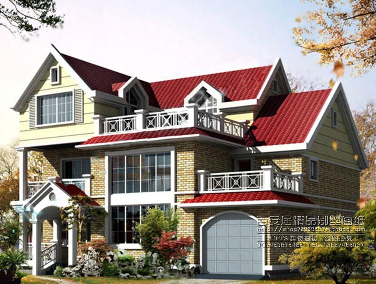 全套别墅图纸 农村自建房屋设计图 二层半带车库及露台效果图 352