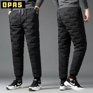 羽绒棉裤男士棉裤冬季外穿加绒加厚保暖裤户外运动防风东北裤子