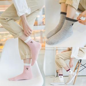 5双日系女袜子纯棉秋季中筒袜韩国学院风防臭吸汗运动可爱单鞋棉