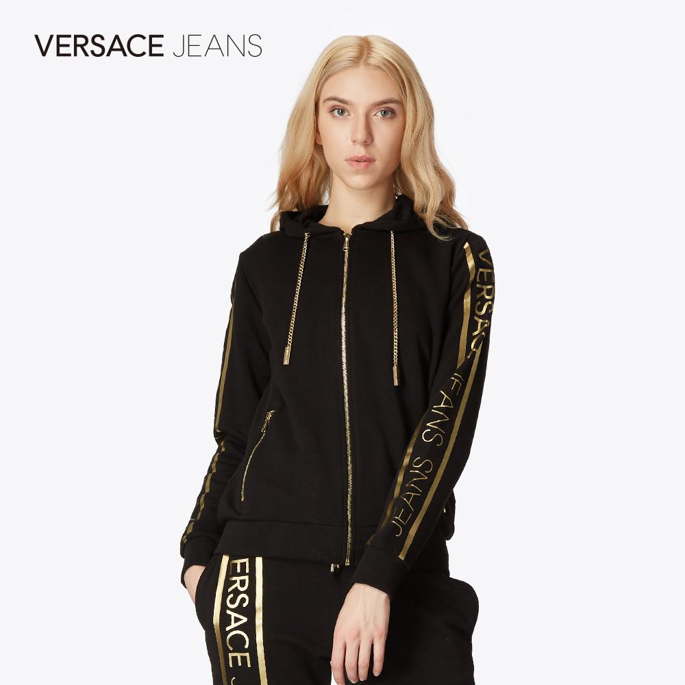 Versace Jeans范思哲FW18新品烫金LOGO抽绳连帽女士卫衣
