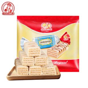 俄罗斯进口slavyanka糖果酸奶味威化糖鲜奶味威化白巧克力零食
