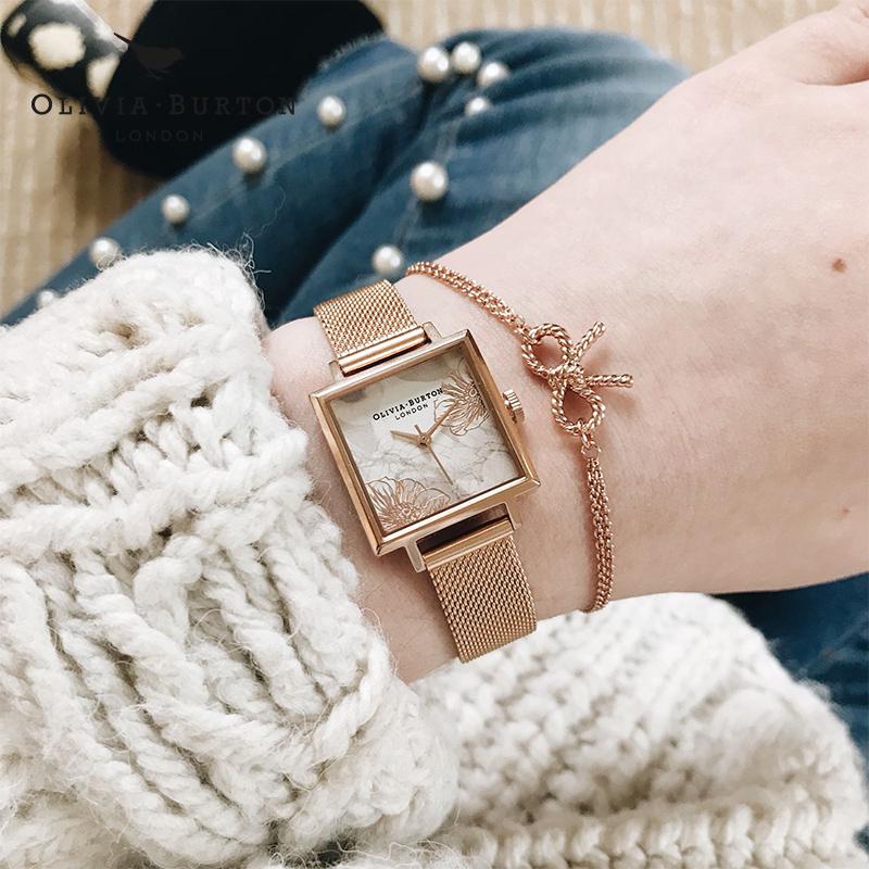 Olivia Burton腕表OB手表女抽象方形英国进口时尚潮流新品石英表