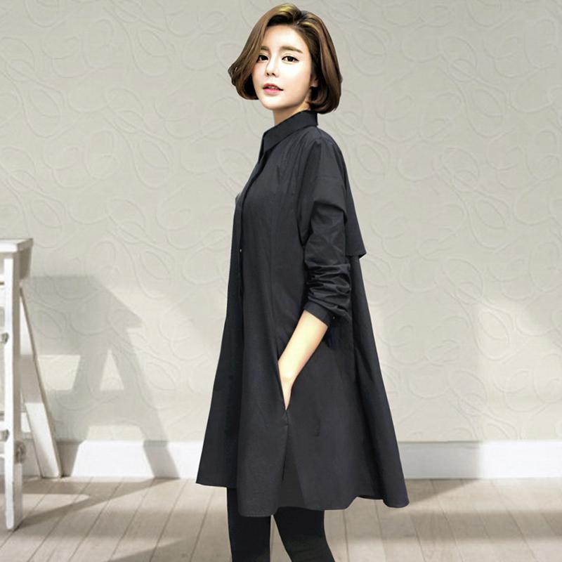女装加大码衬衫2018秋季新款中长款韩版宽松长袖上衣胖mm显瘦衬衣