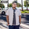 JSMIX胖胖星球大码男装加肥加大潮胖子上衣时尚肥佬宽松短袖衬衫