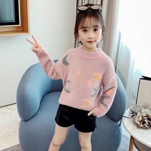 女童毛衣2019新款洋气秋冬童装中大童毛衫儿童女水貂绒套头针织衫