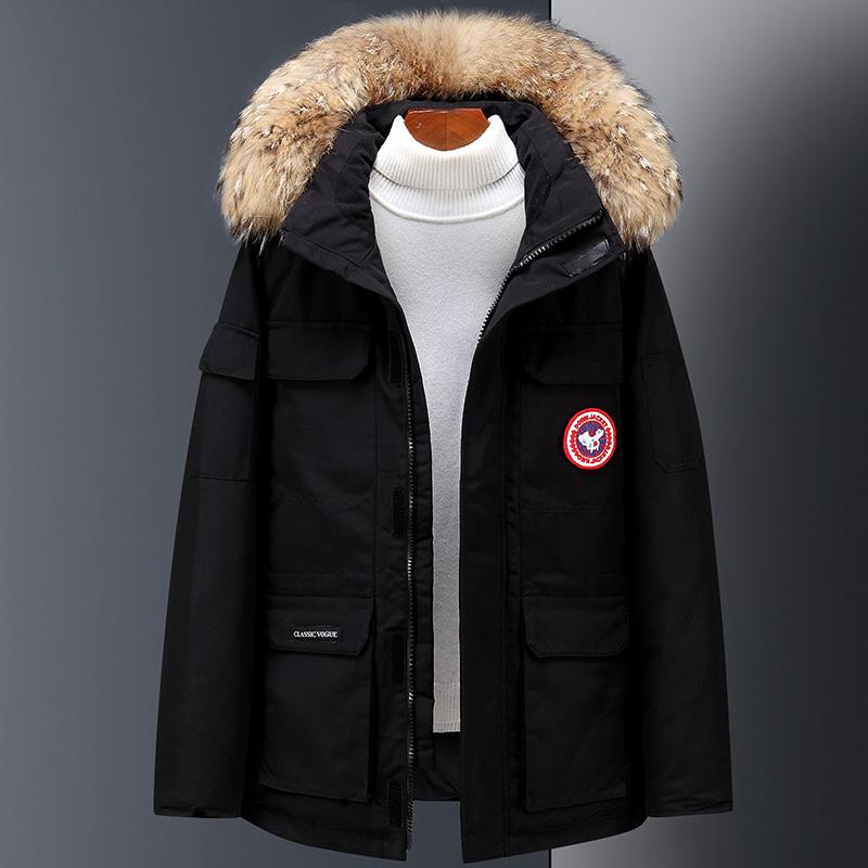 2020冬季新款加厚情侣工装短款羽绒服外套男士大毛领韩版保暖潮牌
