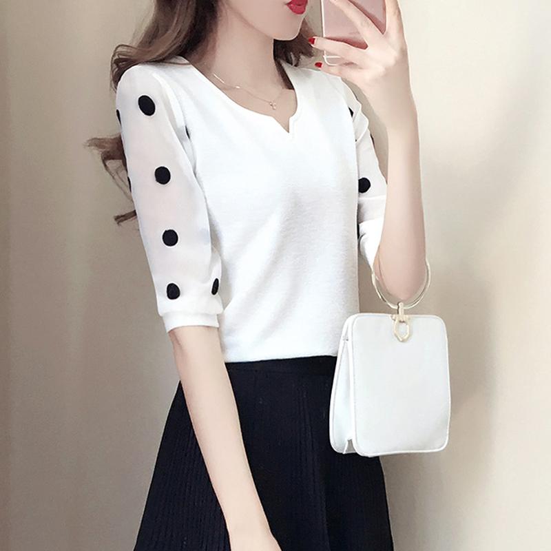 2020春夏新款T恤很仙的宽松波点洋气上衣女韩版宽松学生时尚中袖