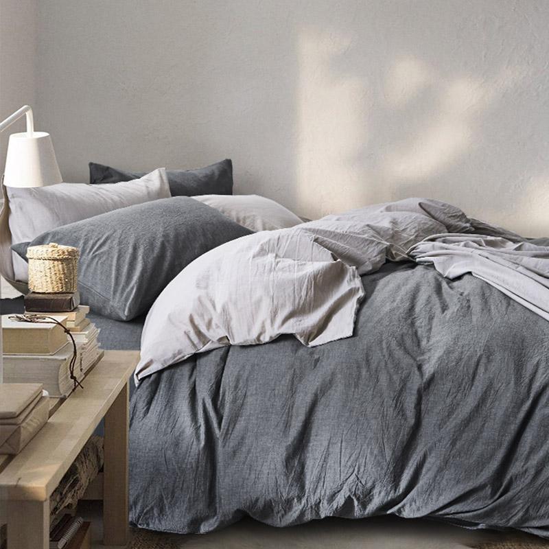 水洗棉裸睡A类四件套全棉纯棉简约超柔床单被套1.8米床上用品日式