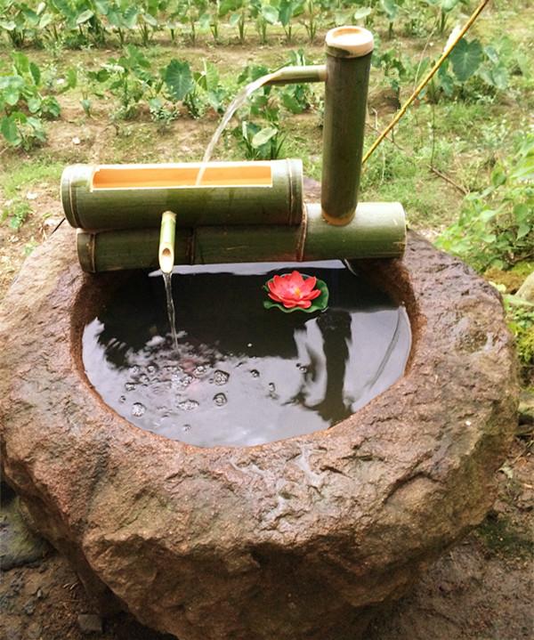老石槽水缸鱼缸水槽流水摆件流水器加湿器竹子流水庭院流水 包邮图片