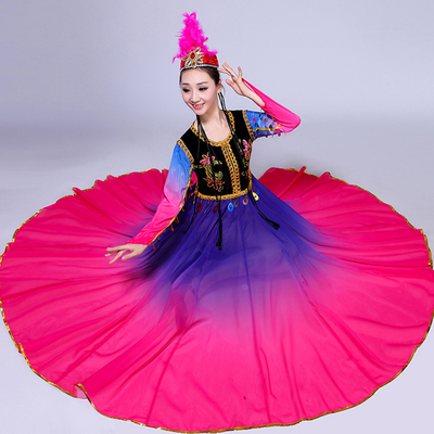 Hanfu Chinese Folk Dance Performance Dress Female Adult Ethnic Minority Wind Dress Uygur Skirt Big Dress