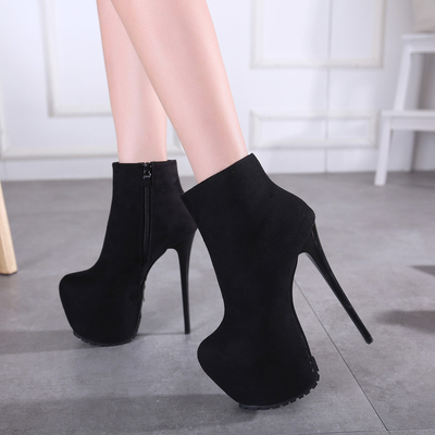 16CM super high heels boots female short black suede boots nightclub size 34-40's main photo