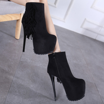 Comfortable fringed Star Club high-heeled boots heels 16cm size 34-40's main photo