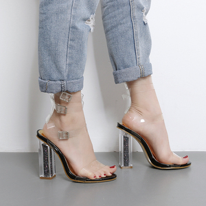 Thich Heel & Transparent Strap Sandal