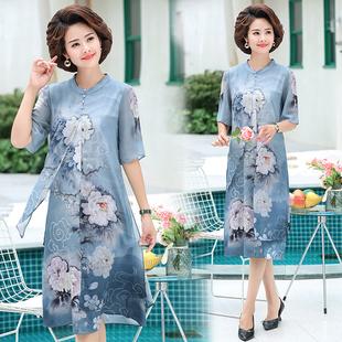妈妈连衣裙夏装中国风中老年女装洋气裙子