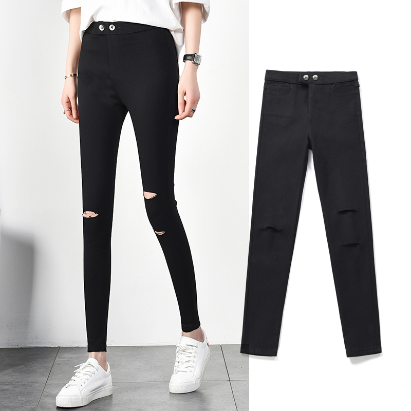 Hole leggings women wear spring and autumn thin section 2019 New nine points black pants magic pants pencil feet pants