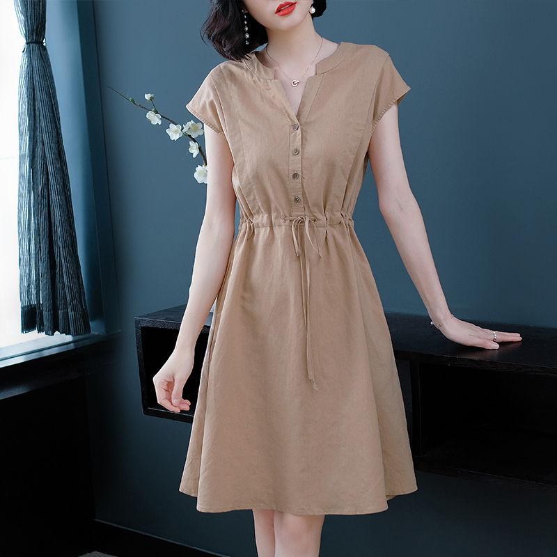 晶际大码连衣裙2020新款女装夏季中长款v领胖mm收腰显瘦气质裙子